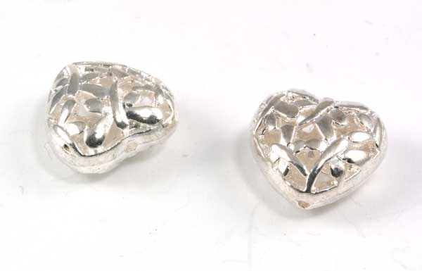 Metal hjerte sølv farve