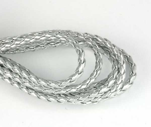 Imiteret lædersnøre sølv 4 mm