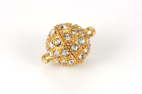 Magnet lås guld farve 14 mm med rhinstene
