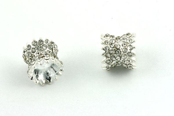 Rhinsten perle sølv farvet 11x10 mm