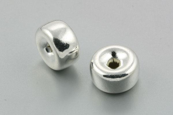 Metal mellemperle 12x6 mm sølv farve