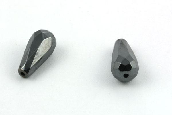 Hematit faceteret dråbe 8 x 16 mm