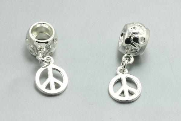 Metal perlehænger med peace tegn - 10 stk