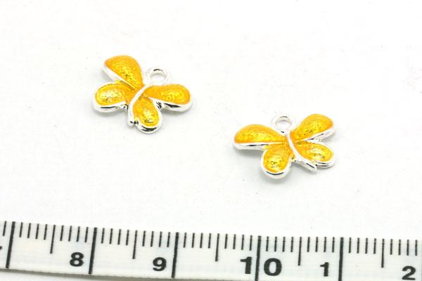 Vedhæng emalje sommerfugl 13,5 mm Gul