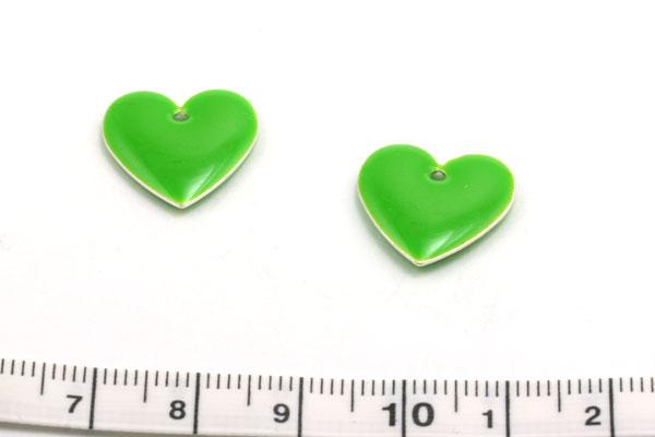 Vedhæng 15 mm hjerte grøn 12 stk