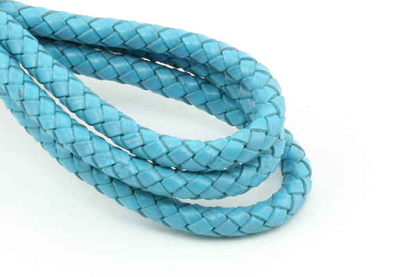 Imiteret lædersnøre flettet blå 6 mm