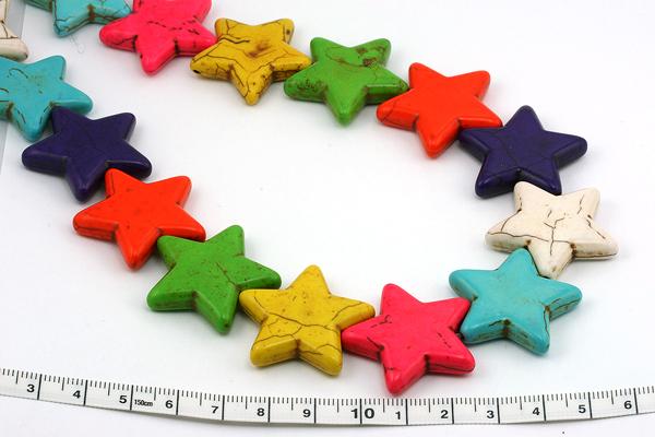 Magnesit multifarvede stjerner 30 mm