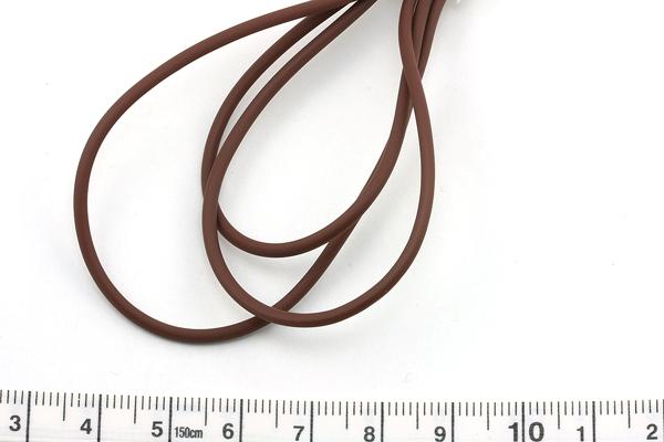 Gummisnøre 2 mm hul Brun