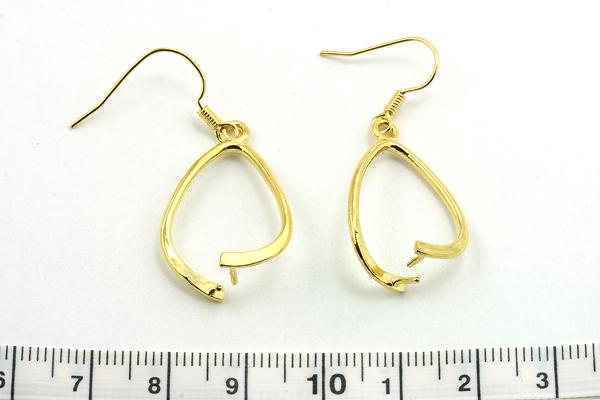 Ørebøjle m. perleklemme guld farve