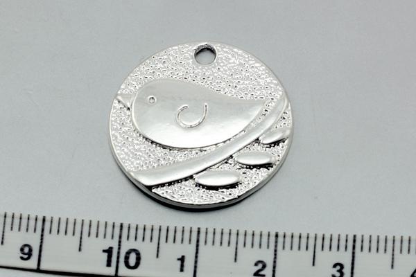 Vedhæng fugl 25x2 mm sølv farve