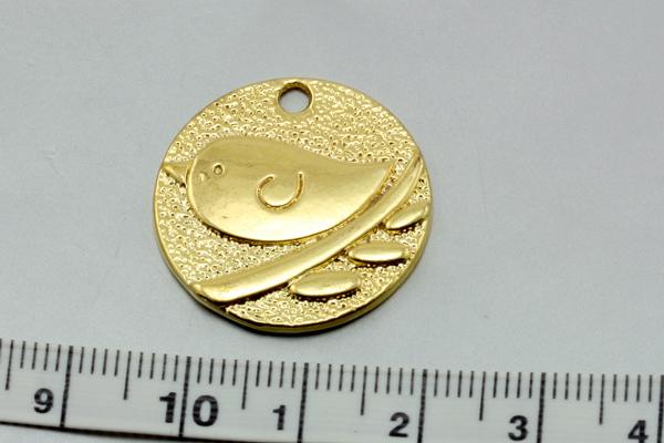 Vedhæng fugl 25x2 mm guld farve