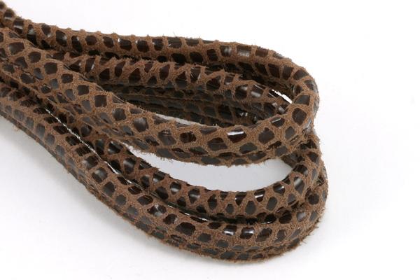 Randsyet imiteret slangeskind 5 mm Brunt, 1/2 meter