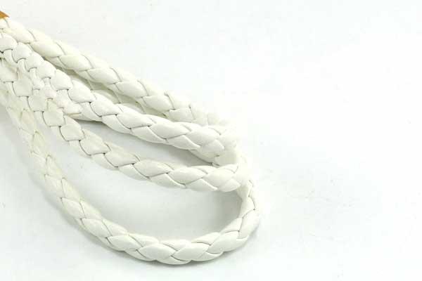 Imiteret lædersnøre hvid 4 mm