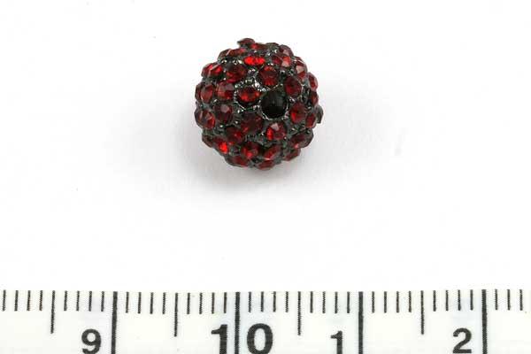 Rhinsten perle 10 mm, Sort/Rød