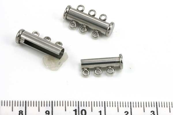 Rustfri stål lås tube 3 øjer 20x6 mm