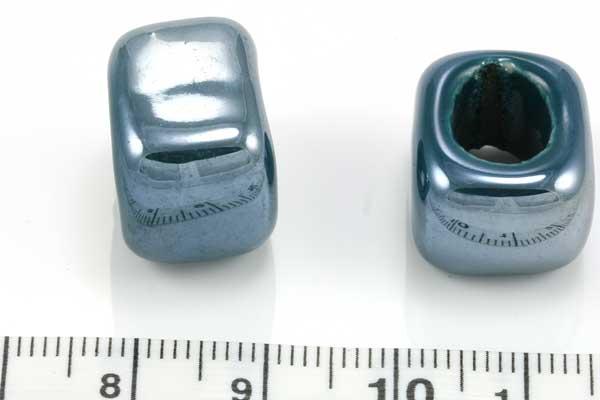 Keramikperle blå/ grå ca.9,5x8 mm hul