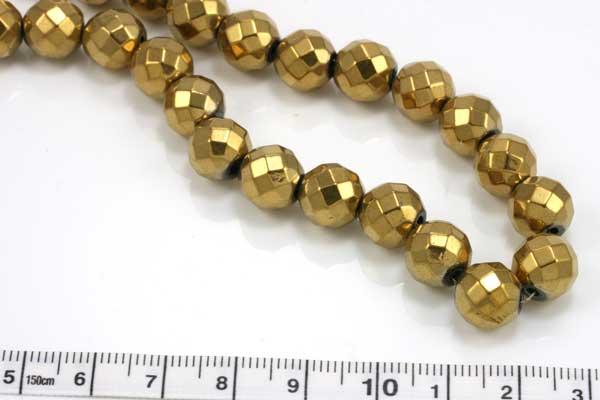Elektroplated Hematit facetteret guld 8 mm