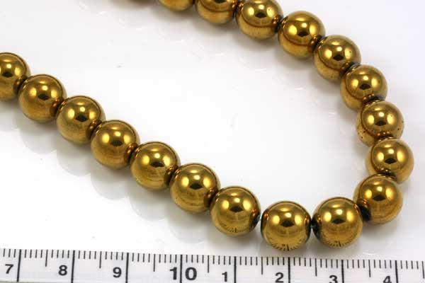 Elektroplated Hematit rund guld 10 mm