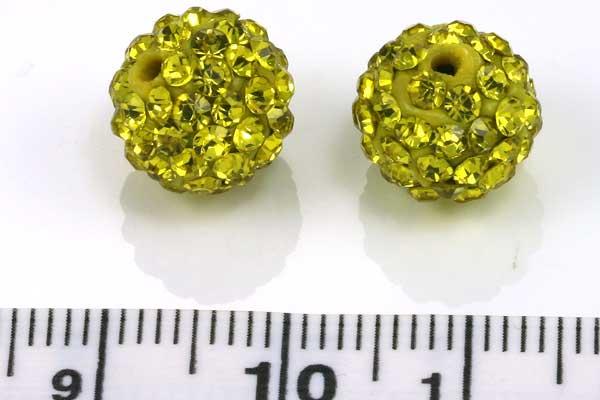 Rhinsten perler 10 mm citrus