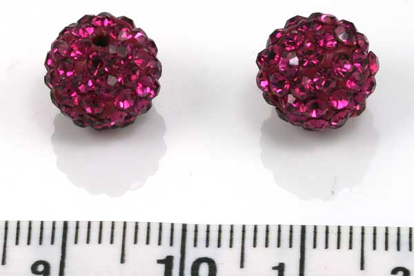 Rhinsten perler 10 mm fuchsia