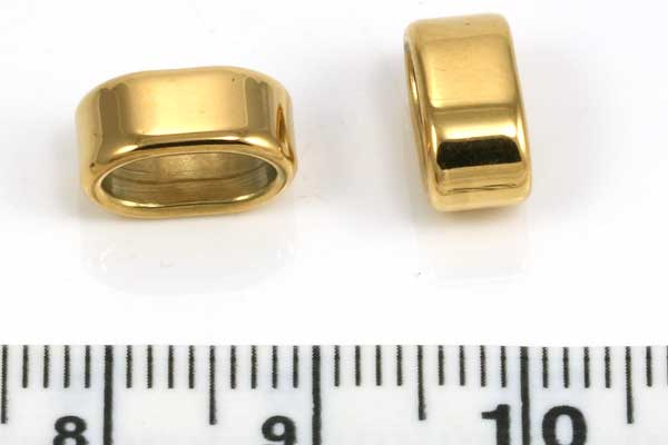 Rustfri stål led guld hul 8x4 mm