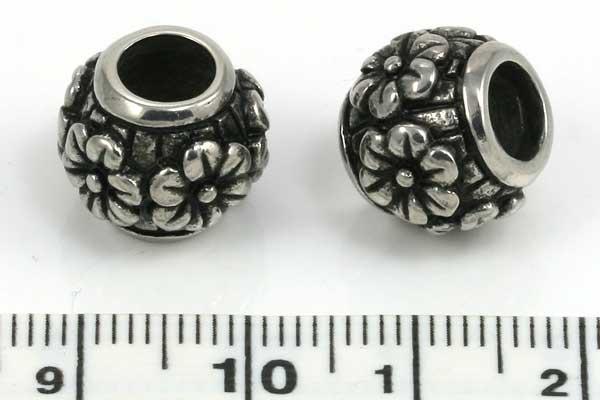 Rustfri stål perle hul 6 mm
