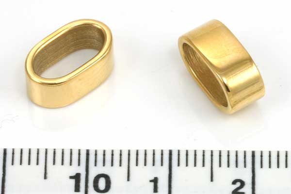 Rustfri stål led guld hul 10x5 mm