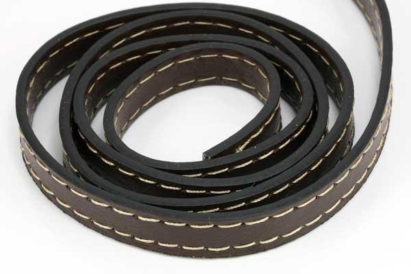 Imiteret læder med stikning 10x2 mm mørk brun