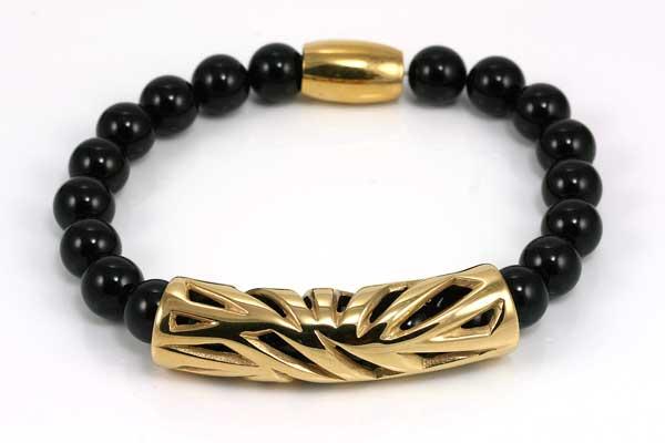 Armbånd med sort Onyx, og rustfri stål
