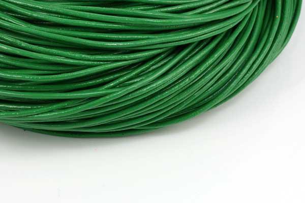 Lædersnøre æblegrøn 2 mm