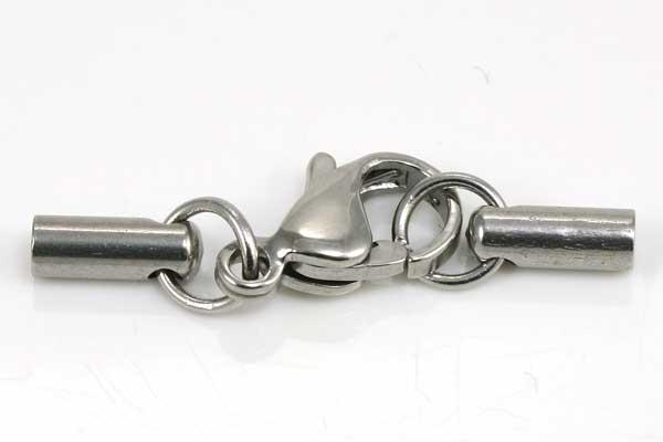 Rustfri stål lås med karabin 2 mm hul