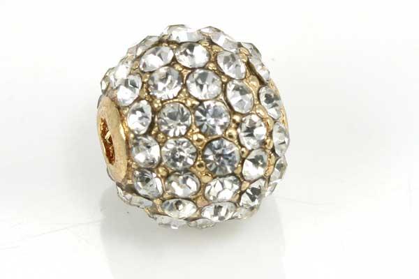 Rhinsten perle 10 mm Guld/Klar