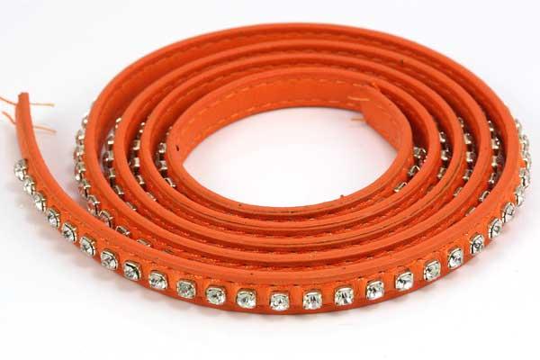 Flad imiteret læder med rhinsten 9x2 mm orange