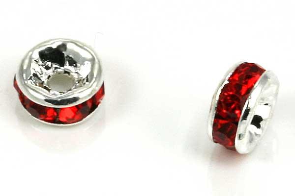Sølvfarvet rhinsten rondel rød 5 mm
