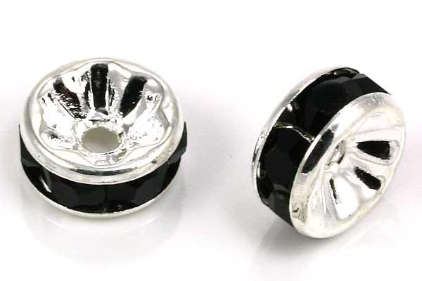 Sølvfarvet rhinsten rondel sort 8 mm
