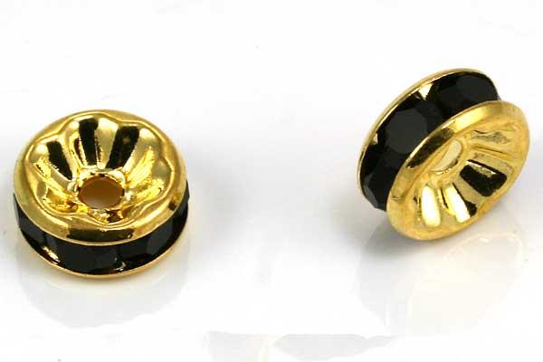 Guldfarvet rhinsten rondel sort 8 mm