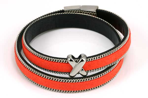 Armbånd Orange med kæde og led