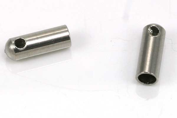 Rustfri stål enderør hul 2 mm  10 stk