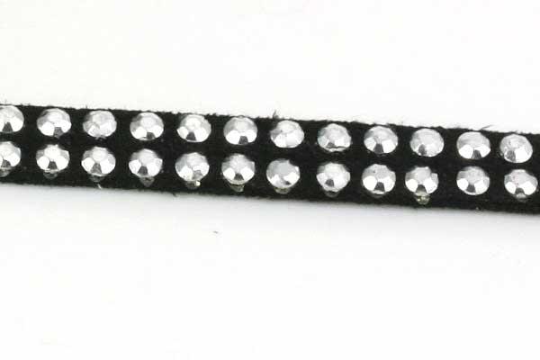 Ruskindsnøre med nitter Sort m/sølv 5x2 mm
