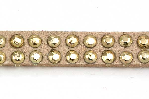 Ruskindsnøre med nitter Mørk Beige m/guld 5x2 mm