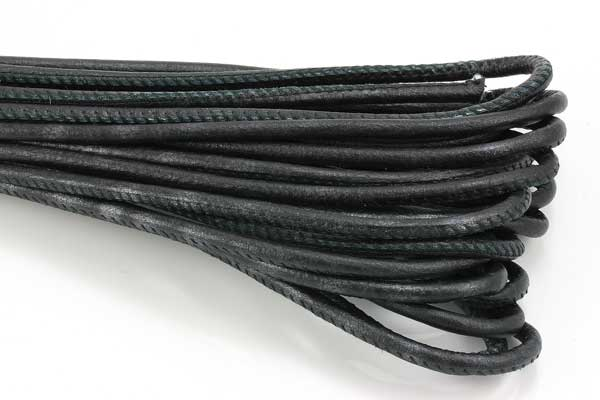 Randsyet læder 4 mm sortmeleret 1/2 mtr