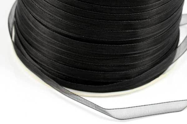 Organza bånd Sort 6 mm