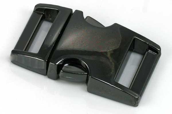 Lås til faldskærmsline sort aluminium Medium