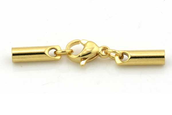 Rustfri stål lås guld med karabin 2 mm hul