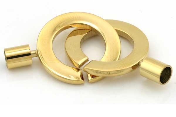 Rustfri stål lås Guld 5 mm hul pr sæt