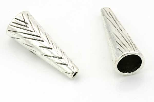Enderør Antik Sølv Hul 10 mm, 10 stk