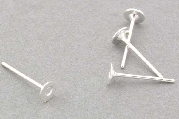 Rustfri stål ørestikker sølvbelagt 4mm 10 par