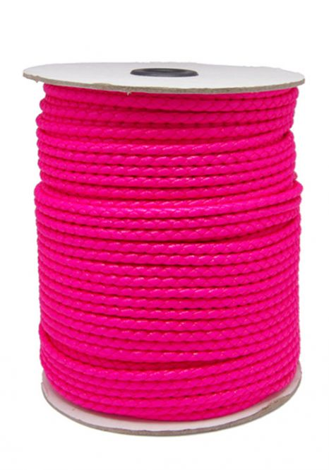 Imiteret lædersnøre Hot pink 3 mm