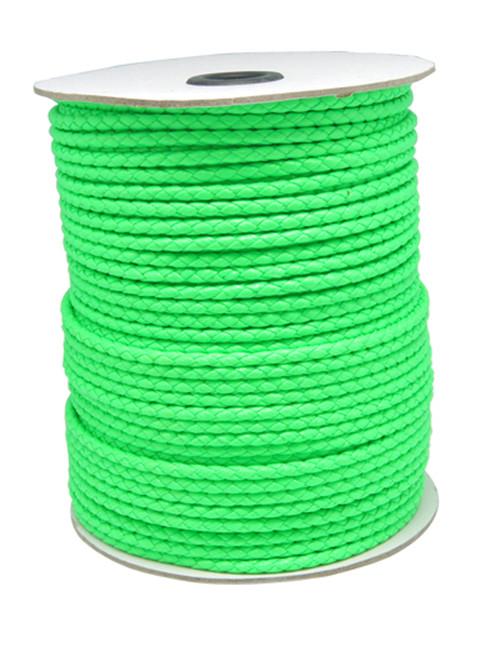 Imiteret lædersnøre Neongrøn 3 mm