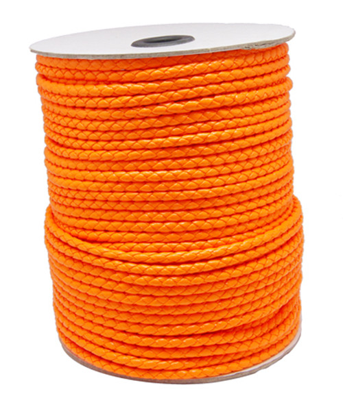 Imiteret lædersnøre Orange 3 mm